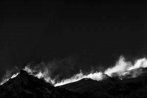 Photo noir et blanc de montagne à Chamonix