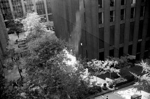 Photo noir et blanc de rue de puis le MoMA de New York City