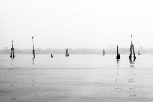 Photo noir et blanc de la Lagune de Venise